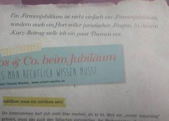 """Das """"Firmenjubiläum"""" – Beitrag in der Eventmoods"""
